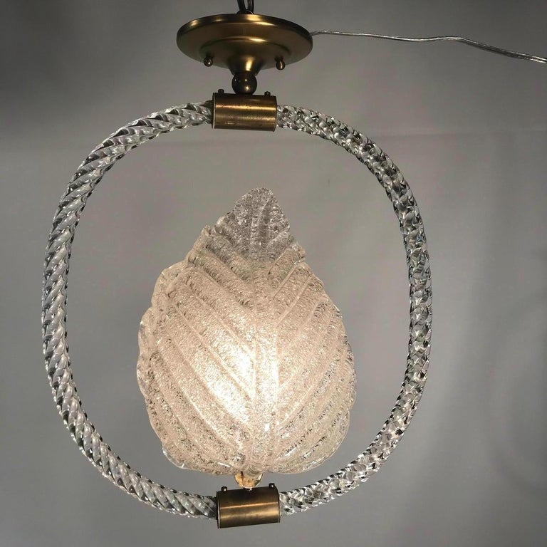 Mid-Century Modern Pair of Murano Glass Fixtures by Barovier and Toso For Sale