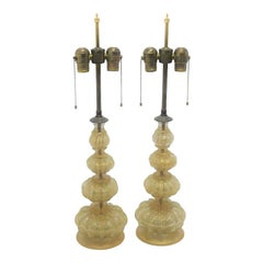 Pair of Murano Glass Gold Fleck Buccilante Table Lamps