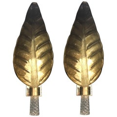 Pair of Murano Glass Gold Leaf Sconces, 1940s