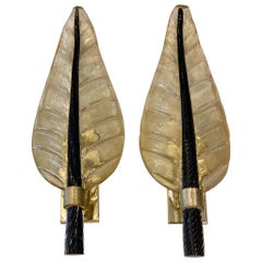 Pair of Murano Glass Gold Leaf Sconces with Black Torchon Glass Leaf Stem, 1940s