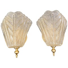 Pair of Murano Glass Gold Leaf Wall Sconces