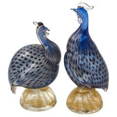 Murano Glass Guinea Hen Birds, Pair