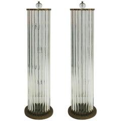 Pair of Murano Glass And Brass Italian Lamps, 1970s