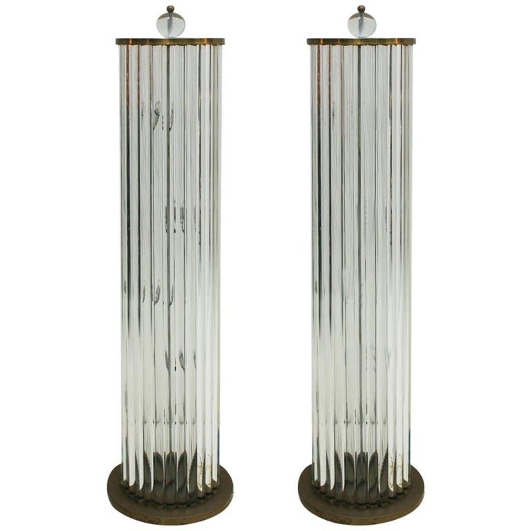 Pair of Murano Glass And Brass Italian Lamps, 1970s For Sale