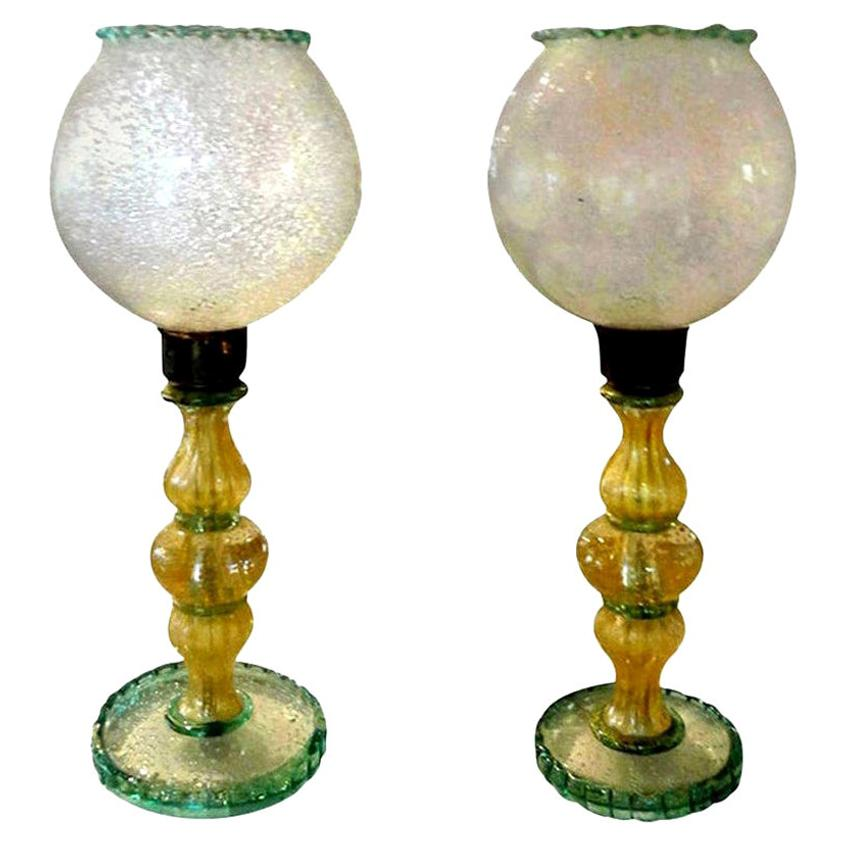 Pair of Murano Glass Lamps Attributed to Seguso