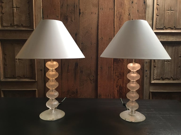 Pair of Murano Glass Lamps by Cenedese For Sale 5