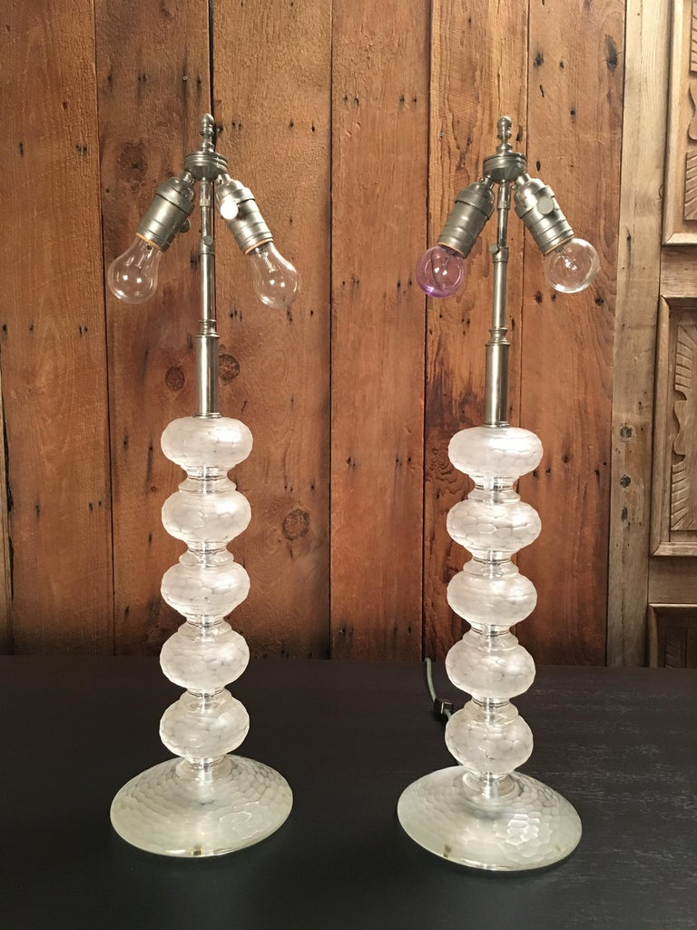 Pair of Murano Glass Lamps by Cenedese For Sale 7