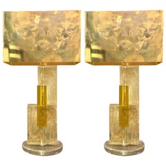 Pair of Murano Glass Lamps Clear Glass Infused with Gold Flecks, 1970s
