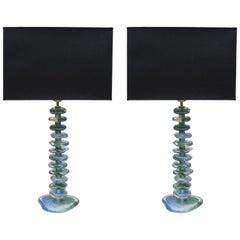 Pair of Murano Glass Lamps Designed by Juanluca Fontana