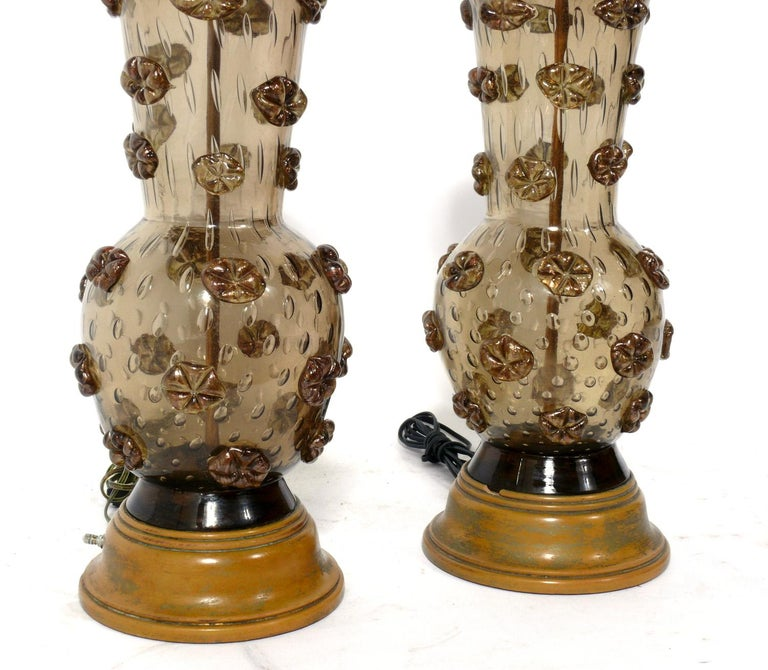 Mid-Century Modern Pair of Murano Glass Lamps For Sale