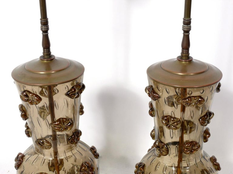 Italian Pair of Murano Glass Lamps For Sale