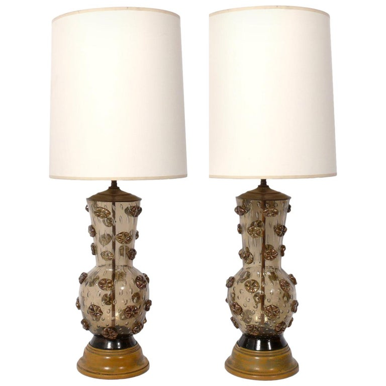 Pair of Murano Glass Lamps For Sale