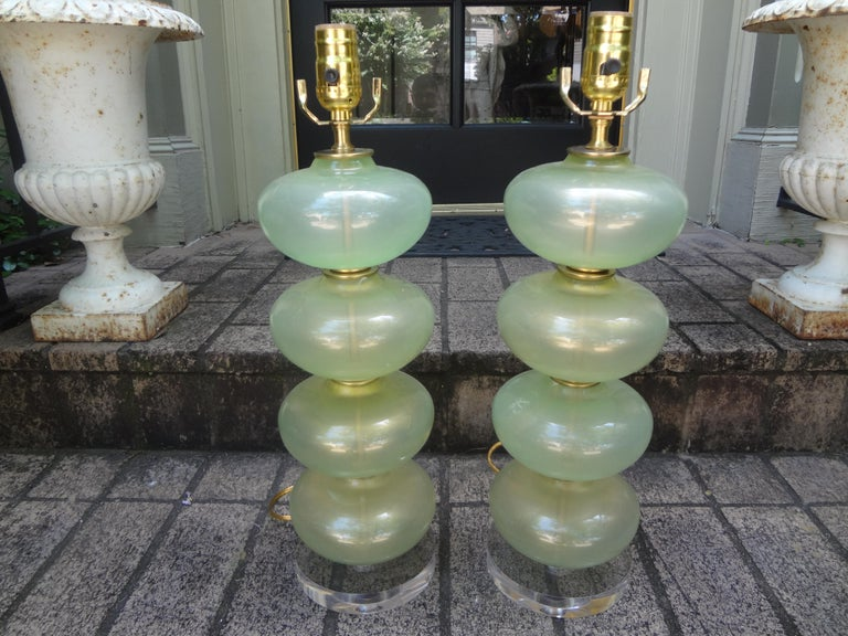 Mid-Century Modern Pair of Murano Glass Lamps in Celadon Green with Gold Inclusions For Sale