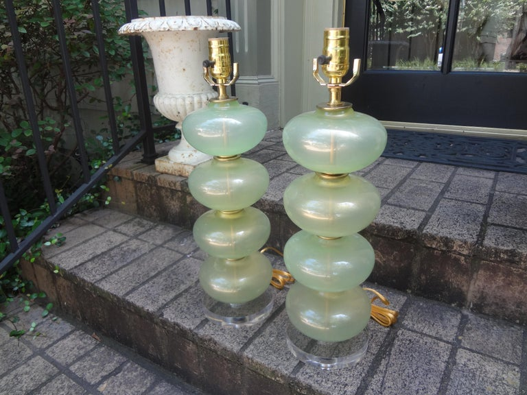 Blown Glass Pair of Murano Glass Lamps in Celadon Green with Gold Inclusions For Sale