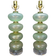 Pair of Murano Glass Lamps in Celadon Green with Gold Inclusions