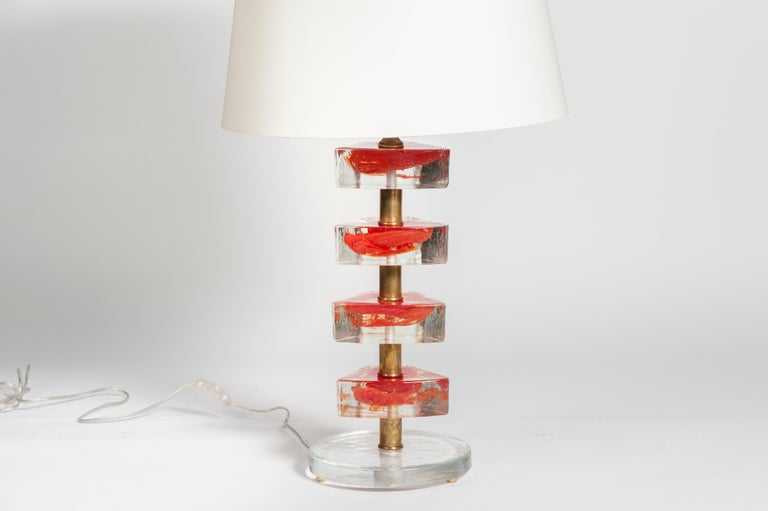 Italian Pair of Murano Glass Lamps in the Style of Cenedese For Sale