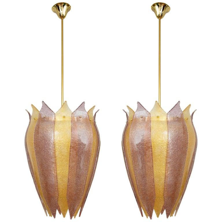 Pair of Murano Glass Lantern or Cesendello, in Stock For Sale