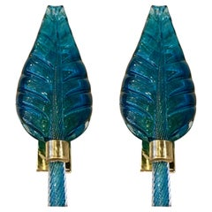 Pair of Murano Glass Leaf-Form Wall Lights by Barovier & Toso, circa 1960