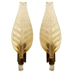 Pair of Murano Glass Leaf Wall Sconces