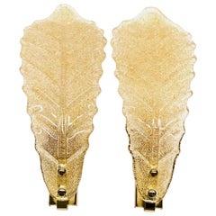 Pair of Murano Glass Leaf Wall Sconces in the Style of Barovier Toso