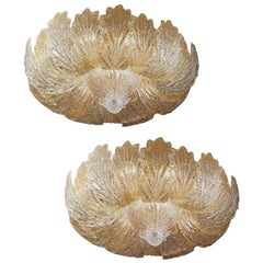 Pair of Murano Glass Leave Flush Mount or Ceiling Lights