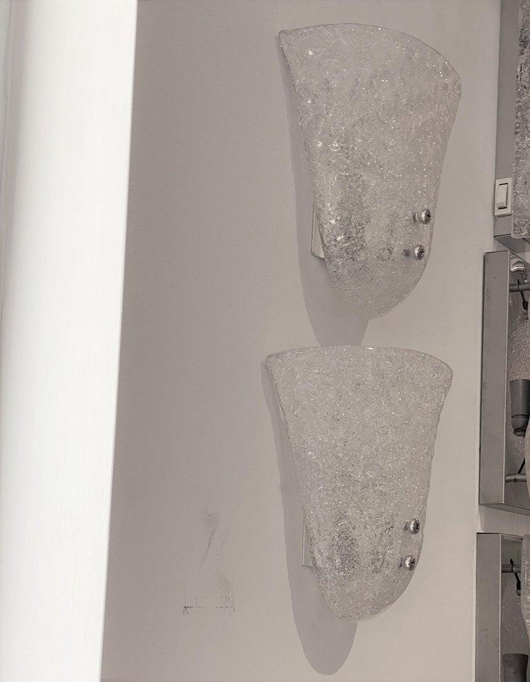 Pair of Murano Glass Mid-Century Modern Wall Sconces For Sale 4