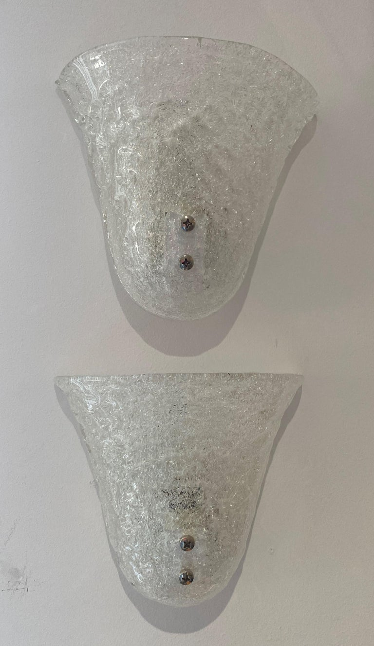Pair of Murano Glass Mid-Century Modern Wall Sconces For Sale 6