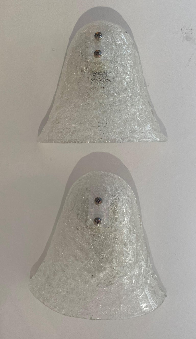 Pair of Murano Glass Mid-Century Modern Wall Sconces For Sale 7