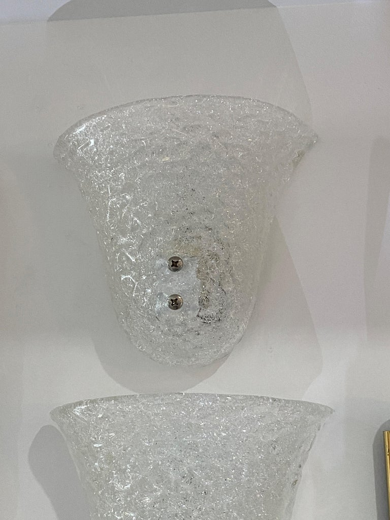 Pair of Murano Glass Mid-Century Modern Wall Sconces In Good Condition For Sale In West Palm Beach, FL