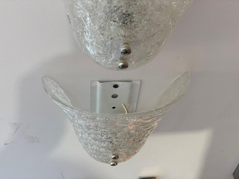 Pair of Murano Glass Mid-Century Modern Wall Sconces For Sale 2