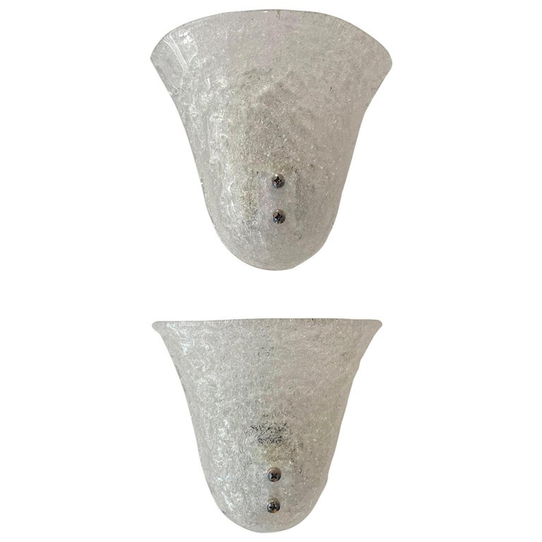 Pair of Murano Glass Mid-Century Modern Wall Sconces For Sale