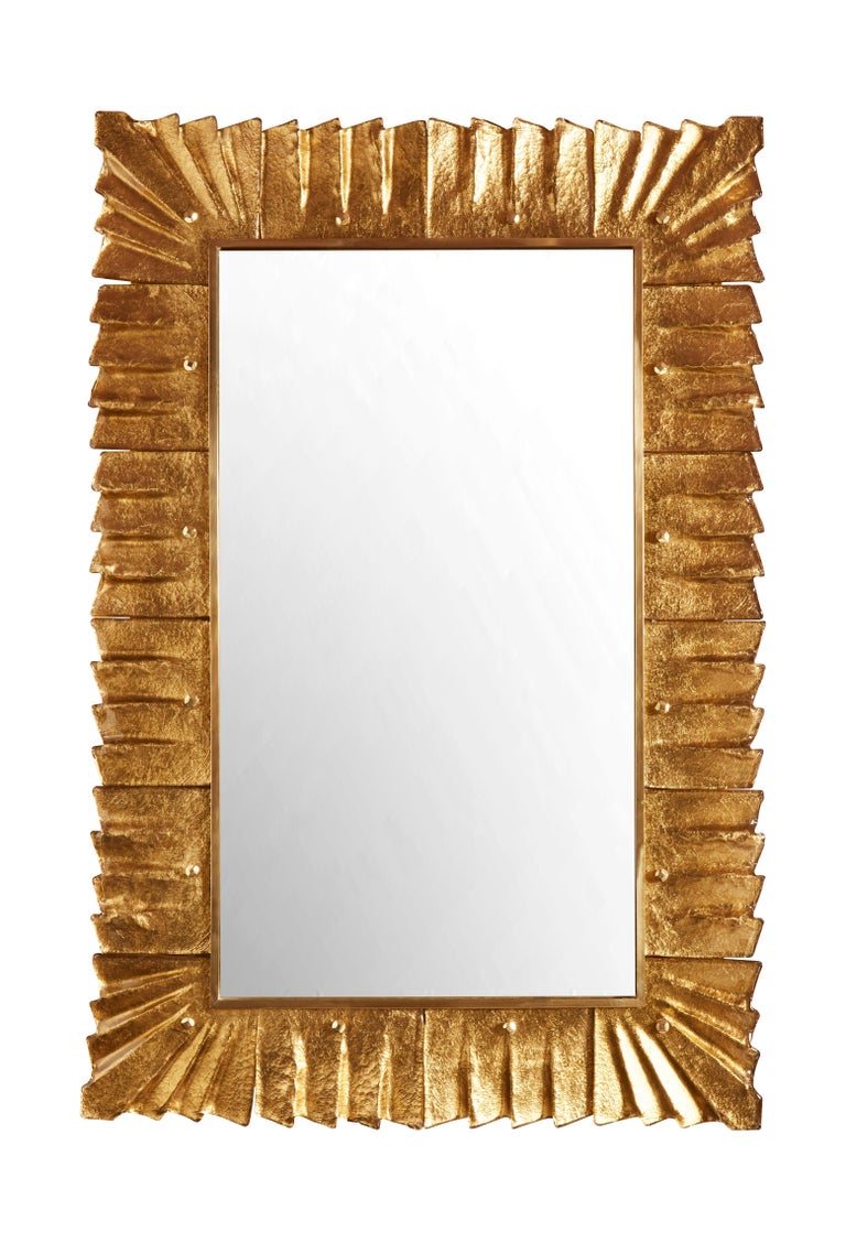 Pair of vintage mirrors with gilt Murano glass frame, Italy, 1980s.