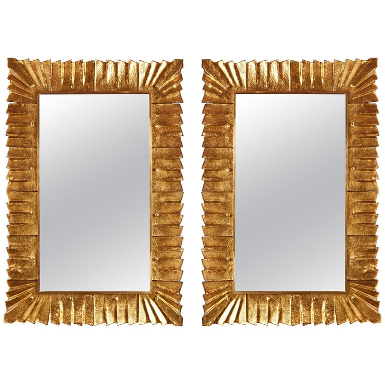 Pair of Murano Glass Mirrors For Sale