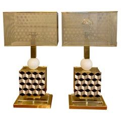 Pair of Murano Glass Mosaic Table Lamps with Metal Perforated Lampshades, 1970s