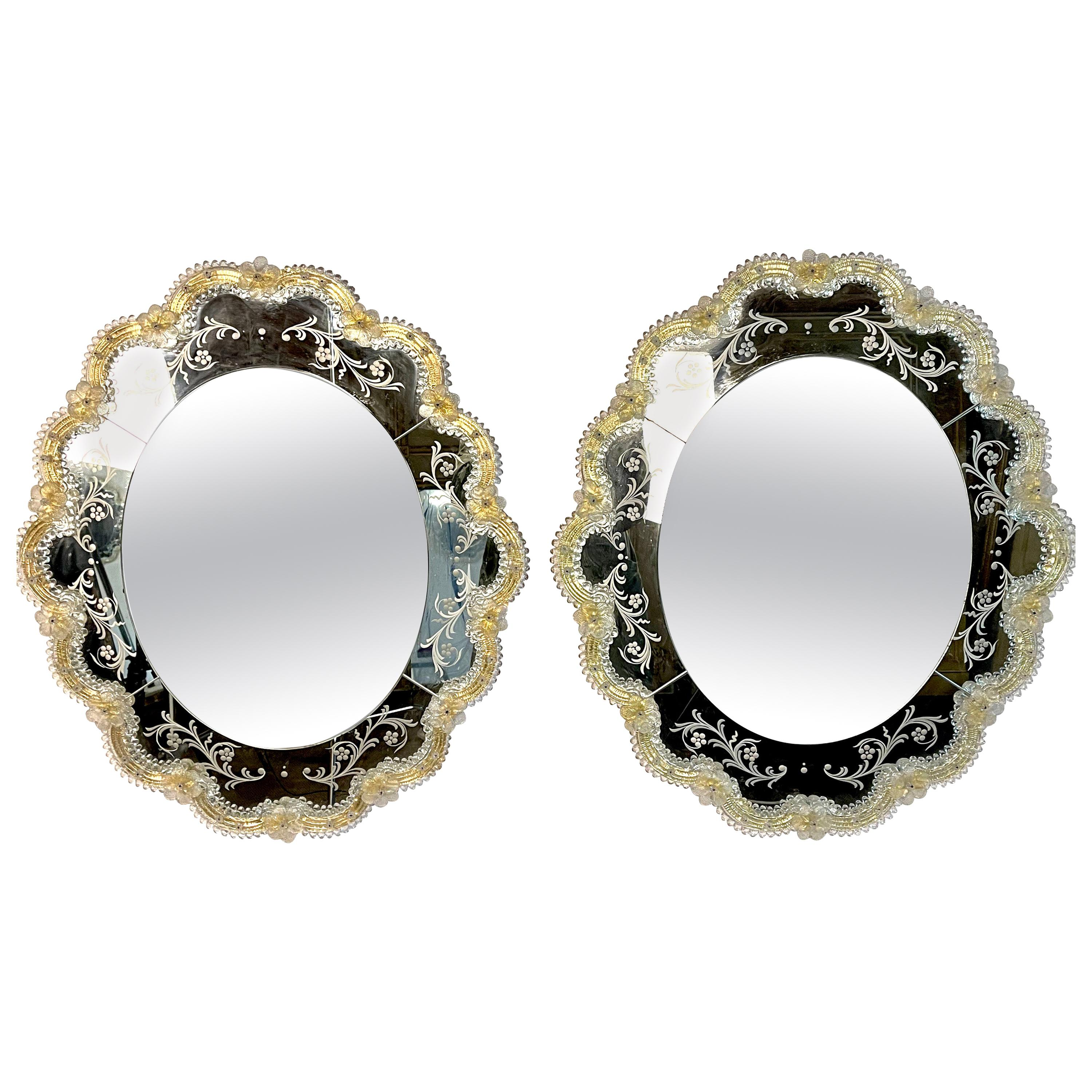 Pair of Murano Glass Oval Mirrors with Gold Glass Accents