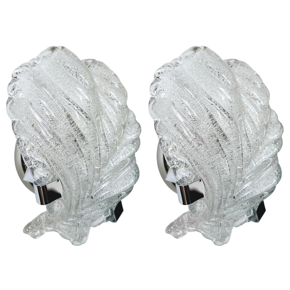 Pair of Murano Glass Palm Leaves Shell Wall Lights Sconces, Italy, 1960s
