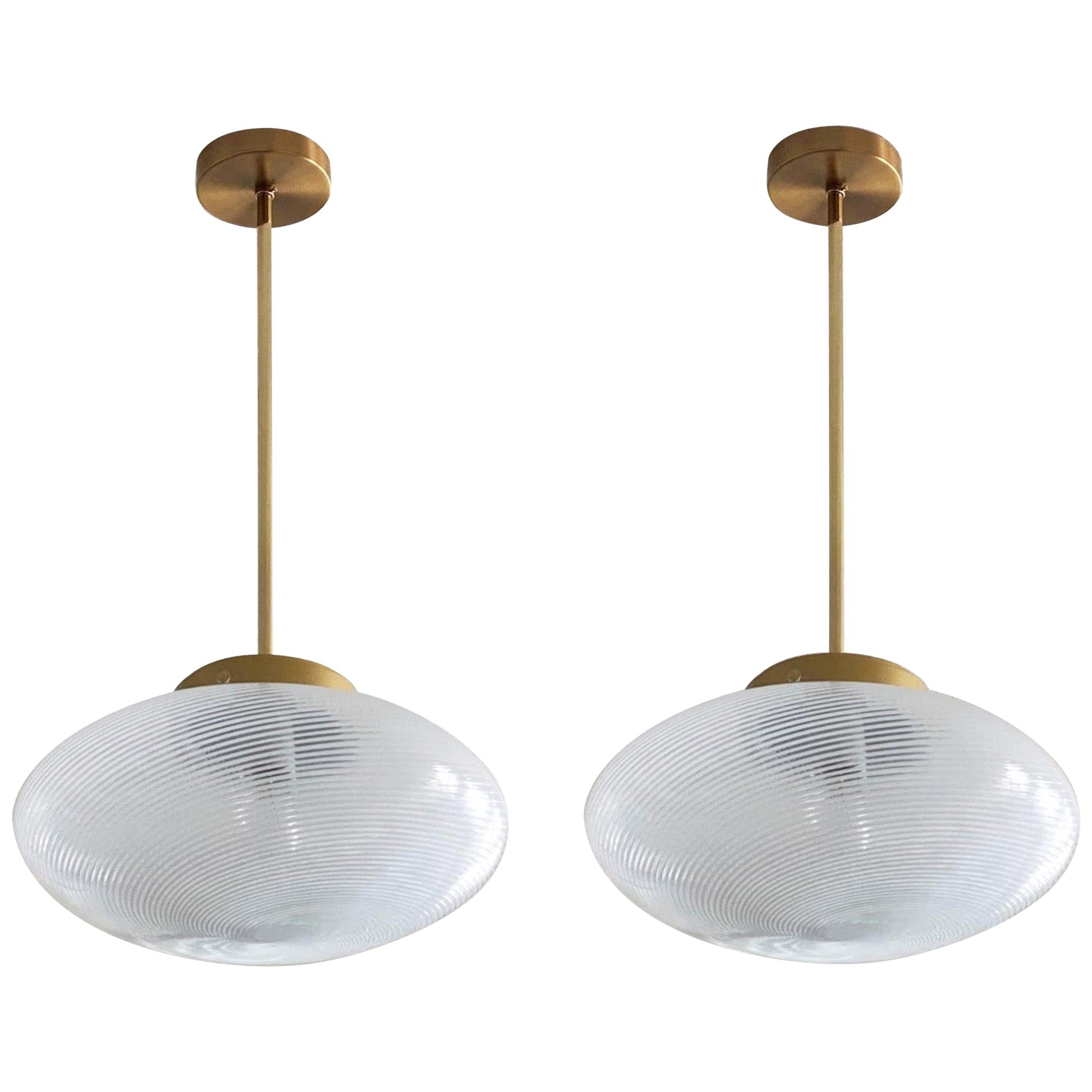 Two Italian Mid-Century Venini Pendants Murano Glass, 1960s