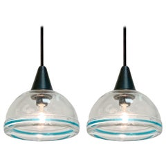 Pair of Murano Glass Pendants, Italian Lighting, Blue Border, Italy, 1970s