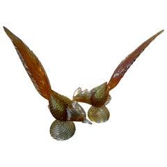 Pair of Murano Glass Pheasants, Salviati Attributed