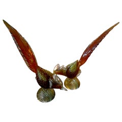 Pair of Murano Glass Pheasants, Salviati Attributed