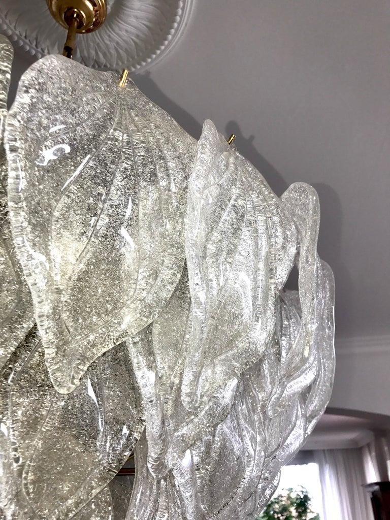 Pair of Murano Glass Polar Chandeliers Italian Modern, 1970s For Sale 5