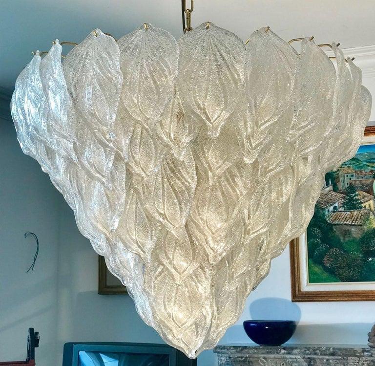Pair of Murano Glass Polar Chandeliers Italian Modern, 1970s For Sale 14