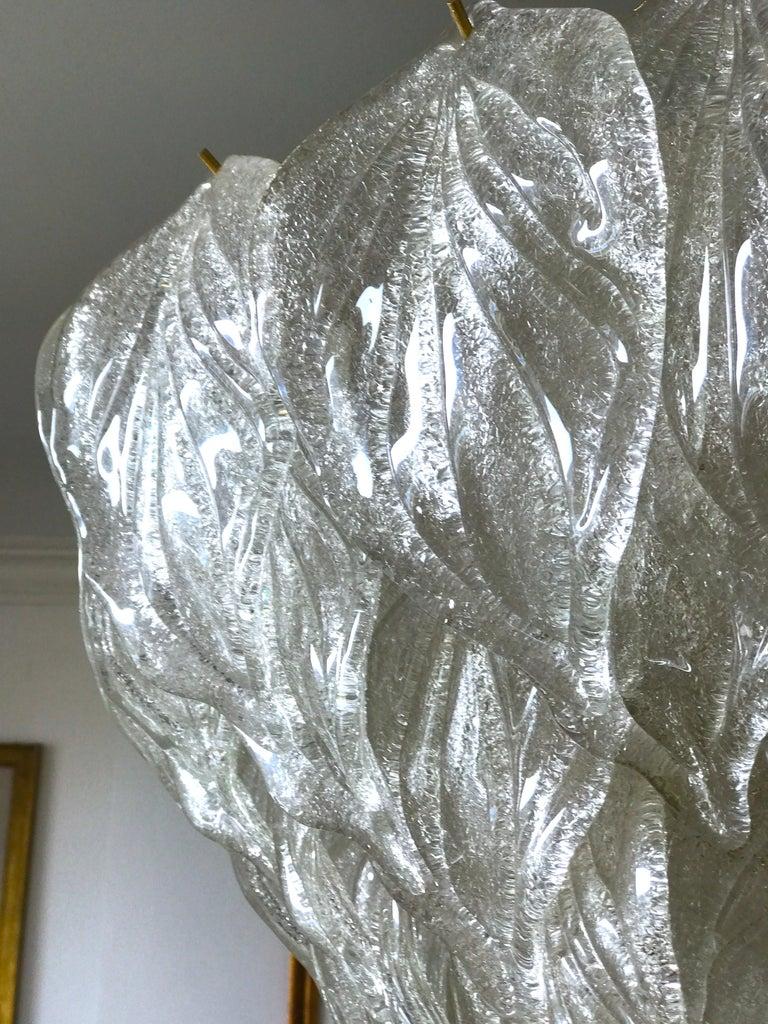 Blown Glass Pair of Murano Glass Polar Chandeliers Italian Modern, 1970s For Sale