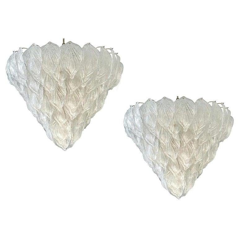 Pair of Murano Glass Polar Chandeliers Italian Modern, 1970s For Sale