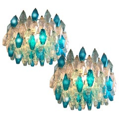 Pair of Murano Glass Poliedri Colored Chandelier in the Style of Carlo Scarpa