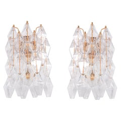 Pair of Murano Glass Poliedri Gold Plated Wall Sconces
