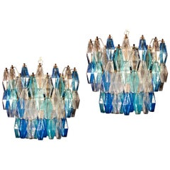 Pair of Murano Glass Sapphire Colored Poliedri Chandelier
