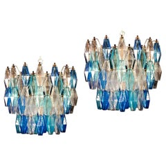 Pair of Murano Glass Sapphire Colored Poliedri Chandelier in the Style C. Scarpa