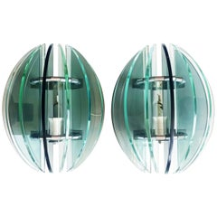 Pair of Murano Glass Sconces Attributed to Fontana Arte, Italy, 1960s