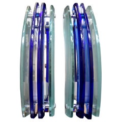 Pair of Murano Glass Sconces, Blue and Frosted Glass by Veca